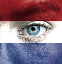 Human face painted with flag of Netherlands